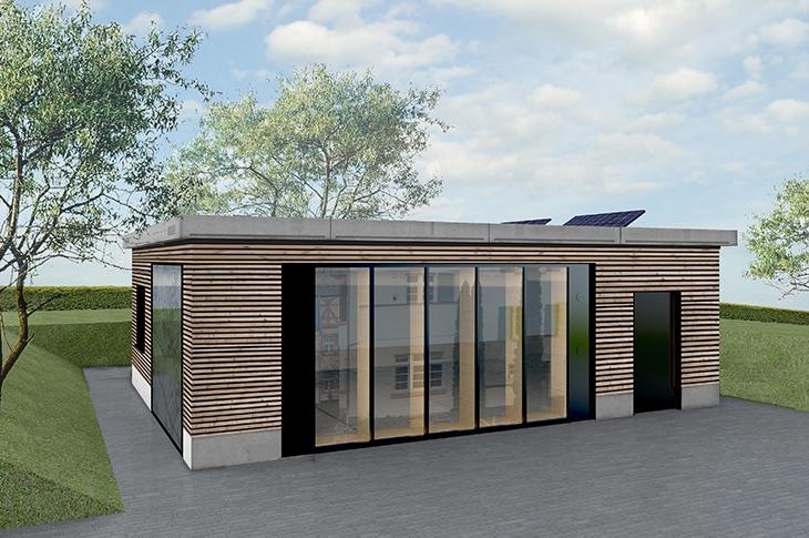 Entwurf des eingeschossigen Gebäudes